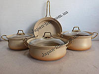Набор посуды O.M.S. Collection 3044 cream  ( 3 каст. 2,4 л. 3 л. 3,8 л. + сковорода 24 см)