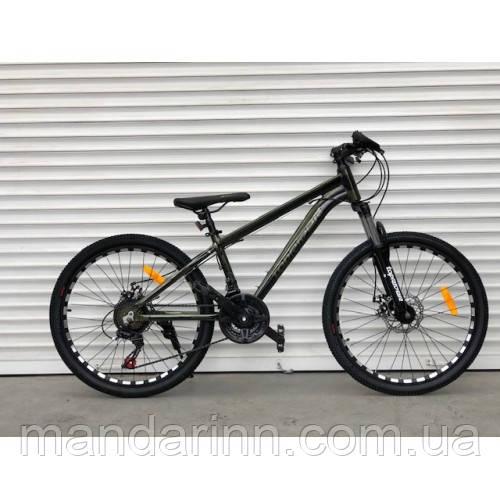 Спортивный велосипед TopRider-680 24 дюйма. Алюминиевый Суперлегкий. Дисковые тормоза. SHIMANO. Хаки