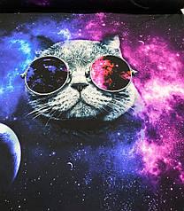 """Футер двунитка """"Кіт в окулярах"""" купон 80х180см. (діджитал)"""