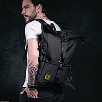 Рюкзак мужской городской спортивный черный, мужской рюкзак городской для ноутбука, рюкзак роллтоп