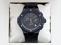 Hublot Big Bang all black AAA наручные часы кварцевые мужские с хронографом на каучуковом ремешке и сапфиром