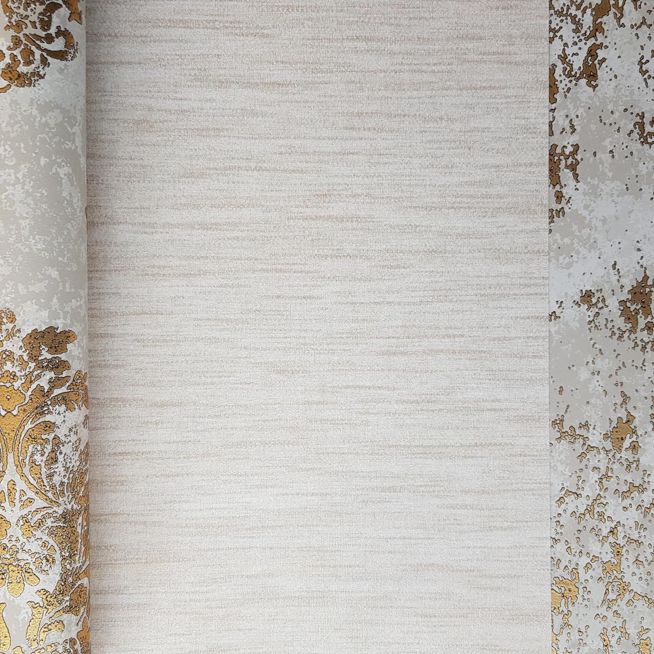 Шпалери флізелінові еко Galerie Metallic FX 0,53Х10 англія горизонтальні смужки розмиті золотисті молочні