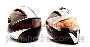 Шлем для мотоциклов HF-122 черный с белой полосой