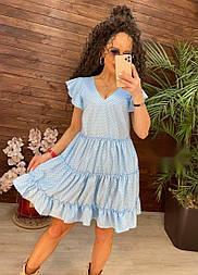 Платье в горошек свободного кроя с рюшами софт (в расцветках)
