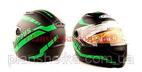 Шлем для мотоцикла Hel-Met 111 черный мат с зеленым