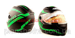 Шолом для мотоцикла Hel-Met 111 чорний мат з зеленим