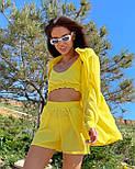 Яркий летний костюм тройка с шортами, топом и свободной рубашкой (р. S-L) 5101883, фото 2