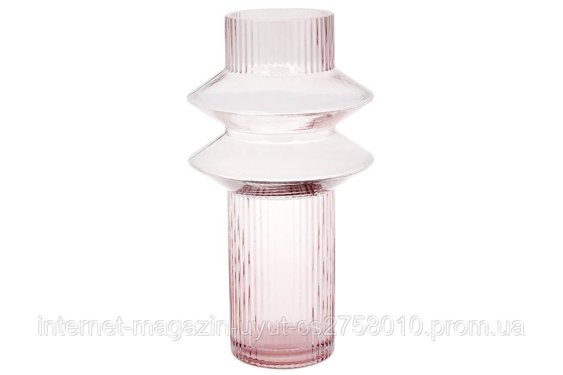 Скляна ваза Далиа 29см, колір - світло-рожевий BonaDi 420-100