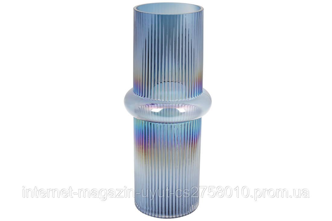 Скляна ваза Етері 37см, колір - діамантовий синій BonaDi 420-109