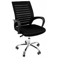 Офисное кресло компьютерное на колесиках компьютерный стул офисный с вентилируемой спинкой черный
