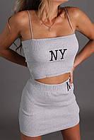 Женский летний трикотажный костюм топ и мини-юбка
