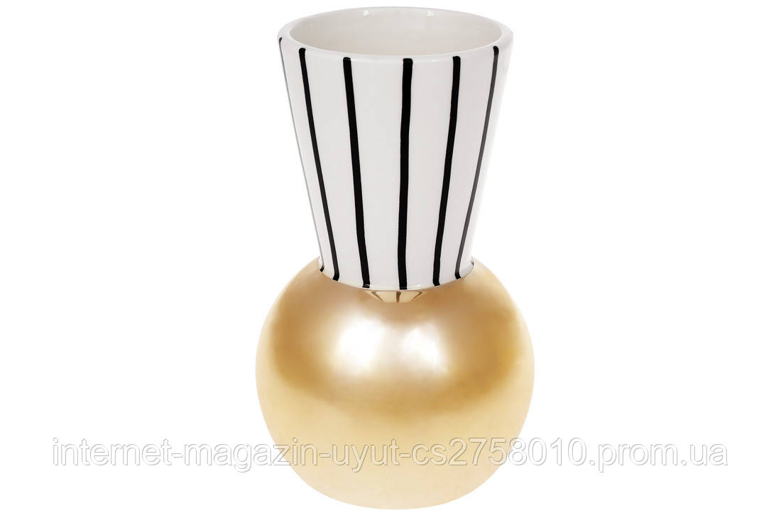 Ваза з графічним орнаментом і золотим покриттям, 19.5 см, колір - білий з чорним золотом BonaDi