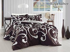 Двухспальный комплект постельного белья ранфорс ТМ TAG Ruya kahve