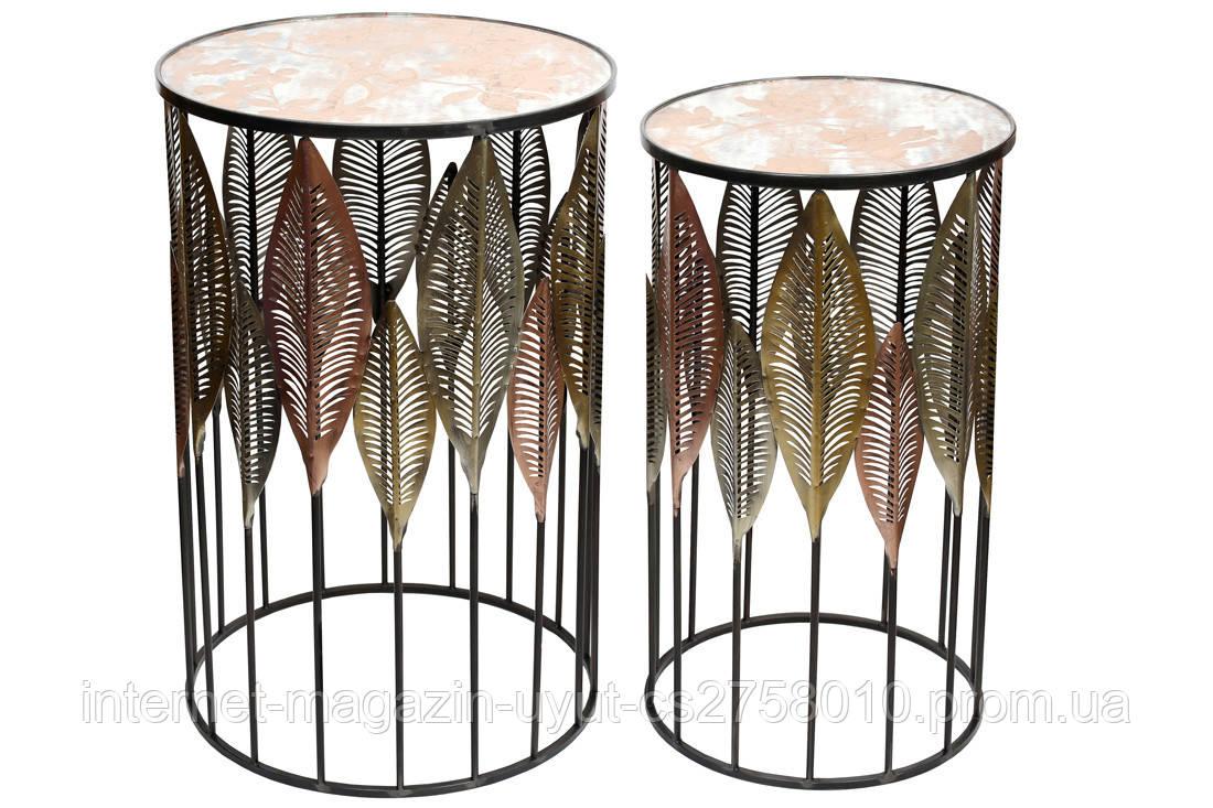 Набор (2 шт) металлических столиков со стеклянной поверхностью, 67.5см и 72.5см BonaDi 589-192