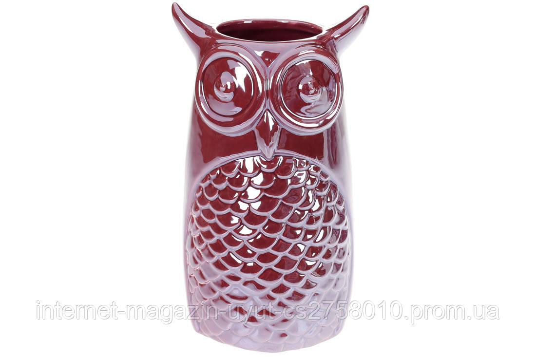 Ваза керамічна Сова, 19см, колір - бордо перламутр BonaDi 733-378