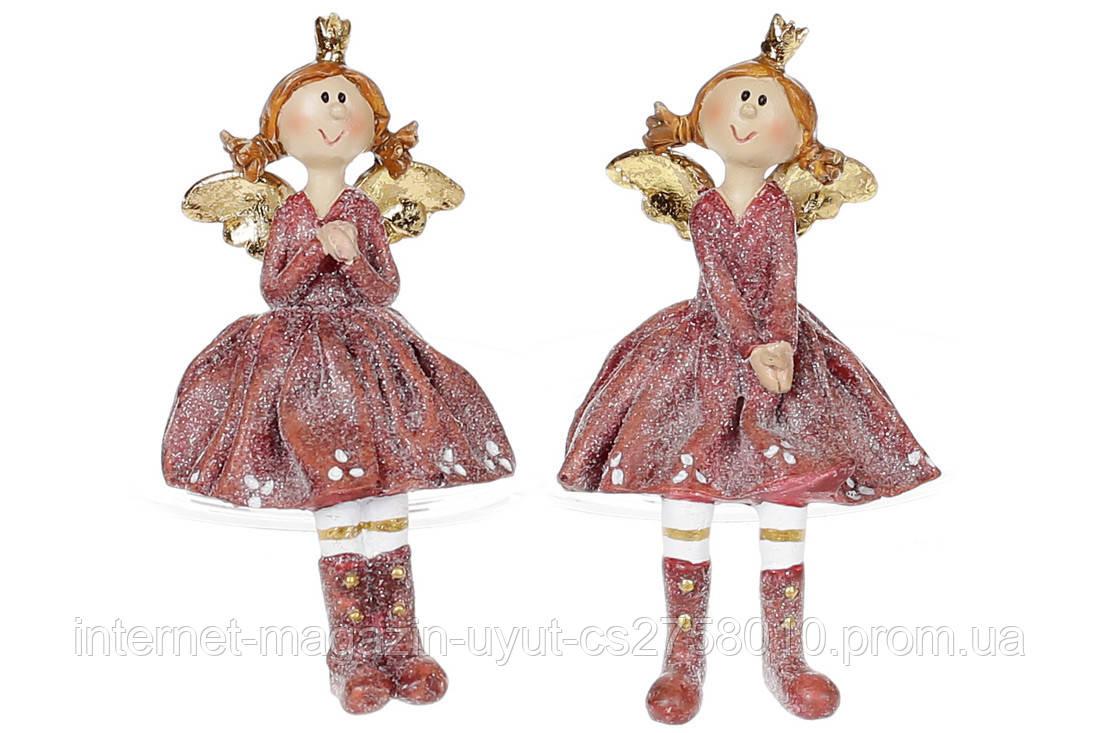 Набір декоративних фігурок Дівчинка-ангел сидяча, 10см, 2 види, колір - бордо BonaDi 823-827