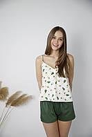 Женская зеленая летняя пижама в авокадо