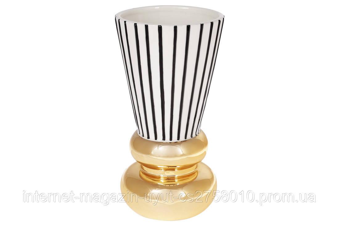 Ваза керамическая с графическим орнаментом и золотым покрытием, 25см, цвет - белый с чёрным и золотом BonaDi