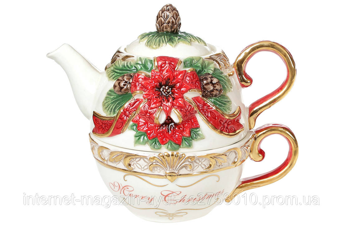 Набор керамический чашка 300мл с чайником 400мл с объемным Рождественским орнаментом BonaDi 997-011