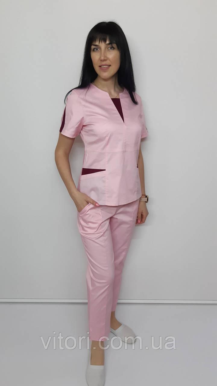 Костюм жіночий медичний Оскар стрейч-котон укорочені брюки