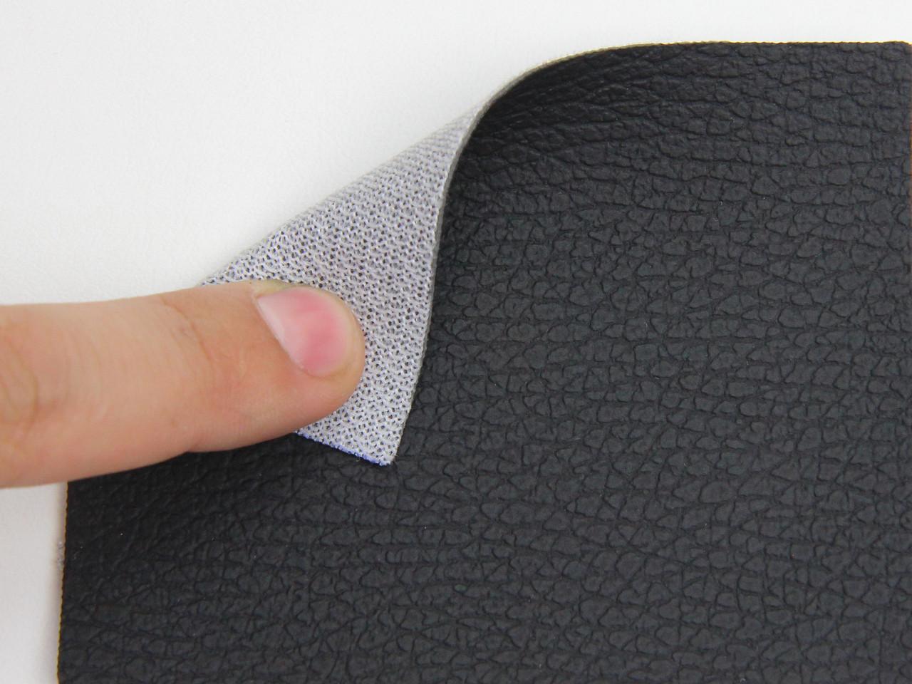 Кожзам черный для сидений авто (крупно текстурный 09-130) на тканевой основе, ширина 1.60м