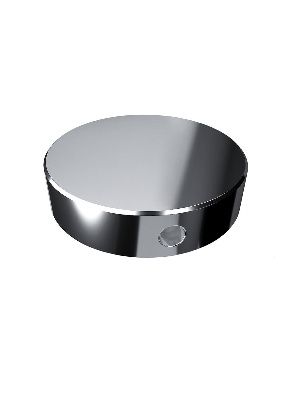 ODF-06-17-02 Конектор круглий d40 з боковим отвором М8, для скляних поручнів і огорож з скла, полір