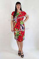 Плаття трикотажне великого розміру  (48-62) червоний
