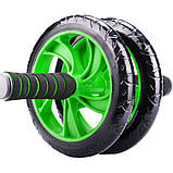 Гимнастическое спортивное колесо Double wheel Abs health abdomen round | Тренажер-ролик для мышц, фото 6