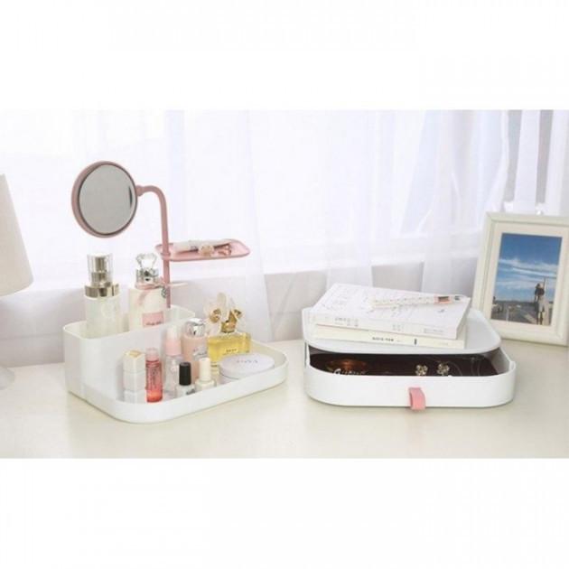 Настільний ящик-органайзер для зберігання косметики з дзеркалом ТРМ 7009 білий