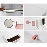 Настільний ящик-органайзер для зберігання косметики з дзеркалом ТРМ 7009 білий, фото 5