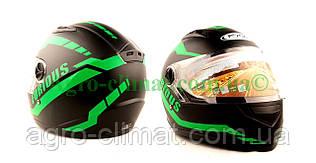 Шлем  FXW HF-111 черный мат с зелёным
