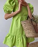 Летнее платье трапеция с короткими рукавами фонариками и оборками (р. 42-44) 21032584, фото 4