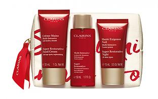 Набор Clarins Super Restorative Set (cr/30ml+lot/50ml+essence/15ml+pouch) (3380810459500)