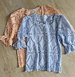Кружевная летняя блуза с квадратным вырезом и рукавом до локтя (р. 42-46) 7913497, фото 5