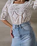Кружевная летняя блуза с квадратным вырезом и рукавом до локтя (р. 42-46) 7913497, фото 2