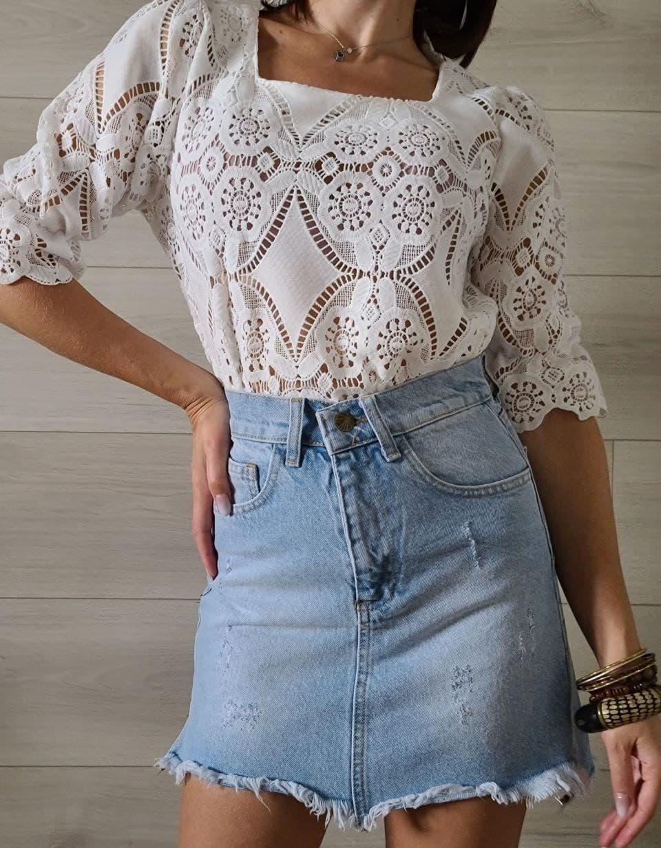 Кружевная летняя блуза с квадратным вырезом и рукавом до локтя (р. 42-46) 7913497