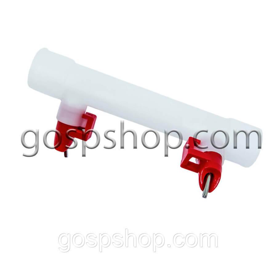 Ніпельні поїлки 2 шт. + штуцер для круг. труби 25 мм (засувки)