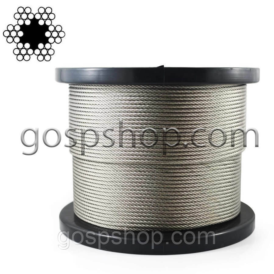 Трос стальной 1,5 мм DIN 3055 (6*7+ серд.) оцинк.