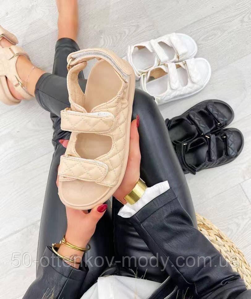 Женские босоножки Chanel на липучках бежевые