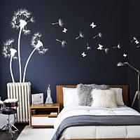 Наклейки на стены Три одуванчика с бабочками и пушинками (наклейки цветы на стены) матовая Набор 3 цветка