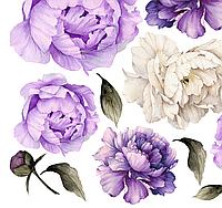 Набор виниловых мини наклеек Акварельные бело-фиолетовые пионы от 10 до 20 см наклейки цветы матовая