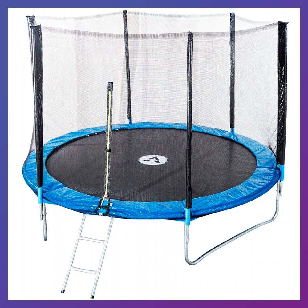 Батут для детей и взрослых для дома с защитной сеткой с лестницей Atleto 374 см диаметр синий