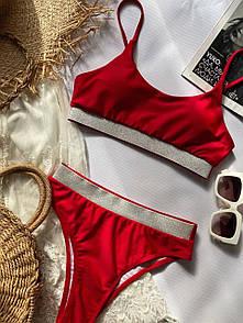 Раздельный женский купальник топом красный, Красивый модный купальник 2021 с высокой талией и посадкой