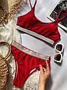 Раздельный женский купальник топом красный, Красивый модный купальник 2021 с высокой талией и посадкой, фото 5