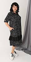 Черное прямое платье с петлями из штапеля 52, 54, 56, 58, 60