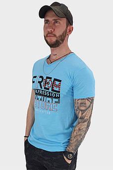 Футболка мужская голубая размер L 131802S