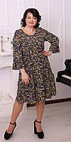 Летнее женское платье для работы большие размеры 50, 52, 54, 56, 58