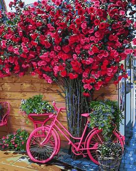 Картина по номерам Mariposa Велосипед на цветочном фоне (MR-Q2270) 40 х 50 см