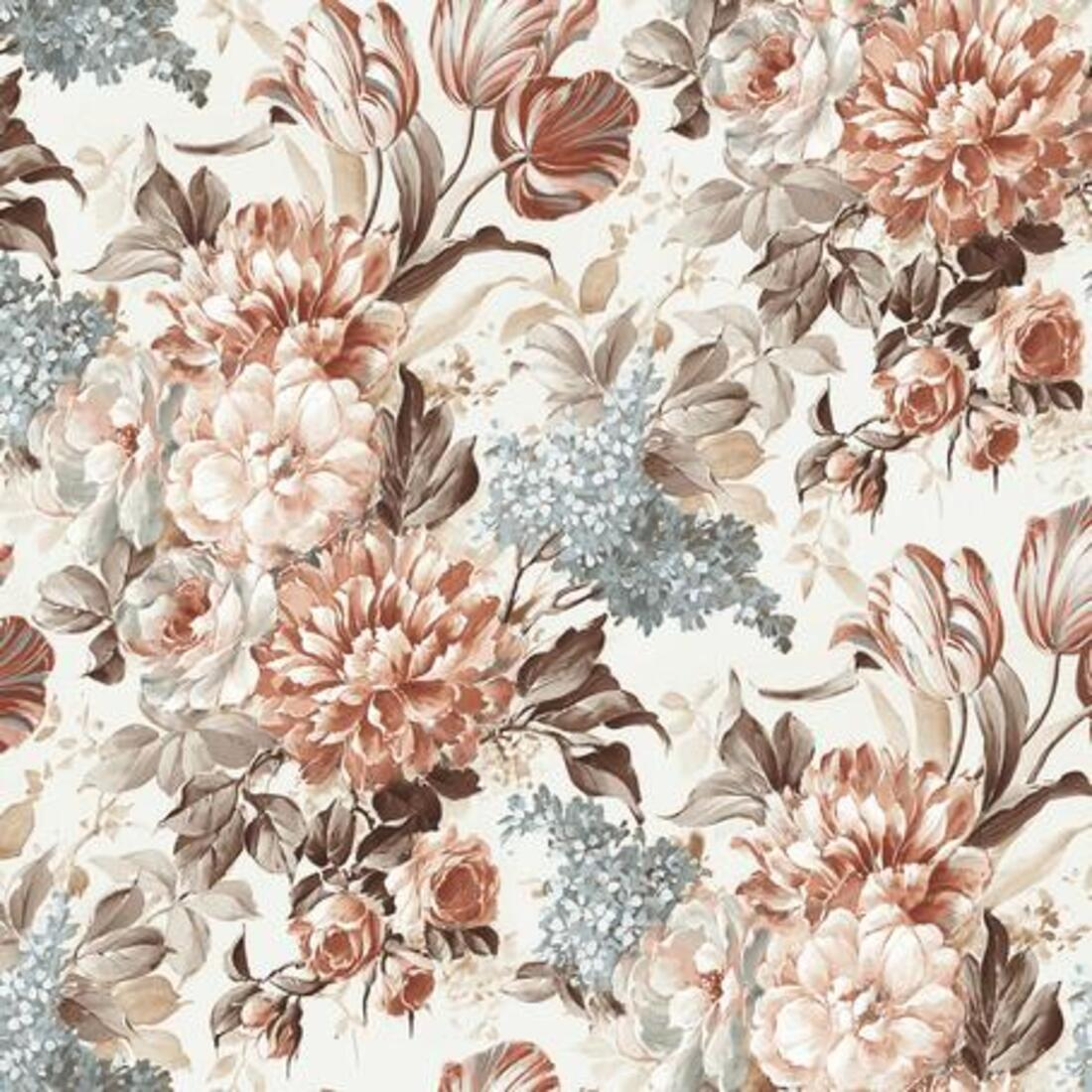 Мебельная ткань Flowers Beige 55143/1018, велюр з принтом