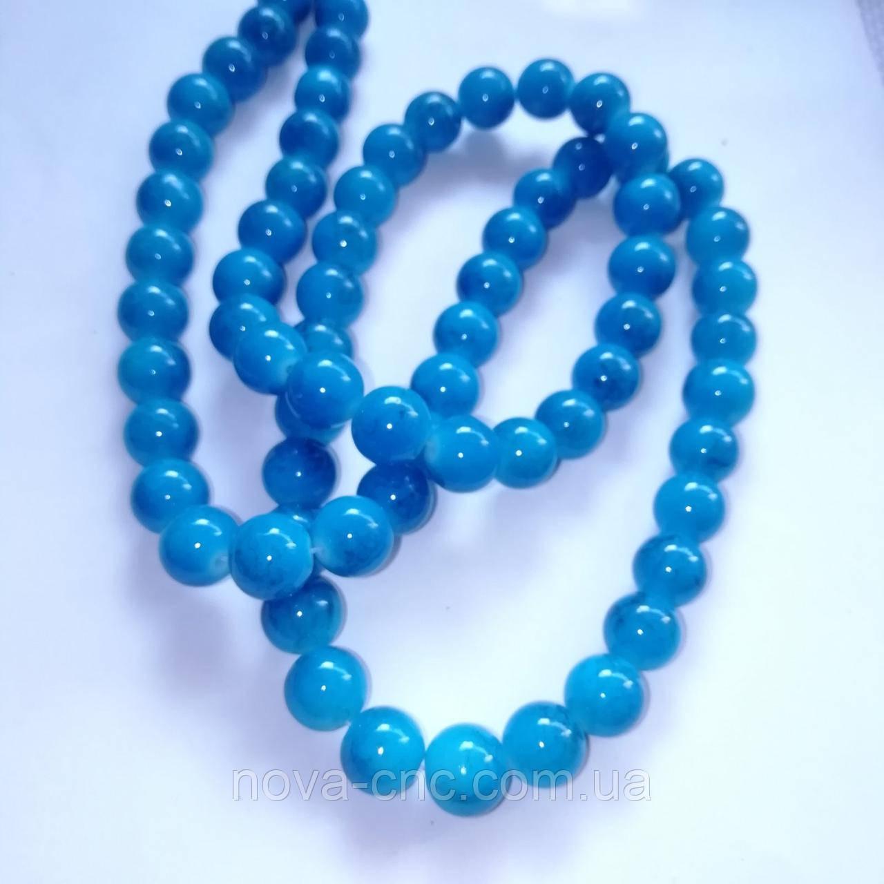 Бусины керамические диаметр 12 мм на леске 68 бусин ярко-голубой мрамор